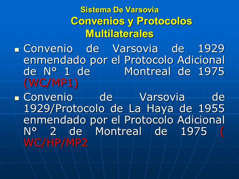Sistema De Varsovia Convenios y Protocolos Multilaterales Convenio de Varsovia de 1929 enmendado por el Protocolo Adicional de N° 1 de Montreal de 1975 (WC/MP1) Convenio de Varsovia de 1929 enmendado por el Protocolo Adicional de N° 1 de Montreal de 1975 (WC/MP1) Convenio de Varsovia de 1929/Protocolo de La Haya de 1955 enmendado por el Protocolo Adicional N° 2 de Montreal de 1975 ( WC/HP/MP2 Convenio de Varsovia de 1929/Protocolo de La Haya de 1955 enmendado por el Protocolo Adicional N° 2 de Montreal de 1975 ( WC/HP/MP2