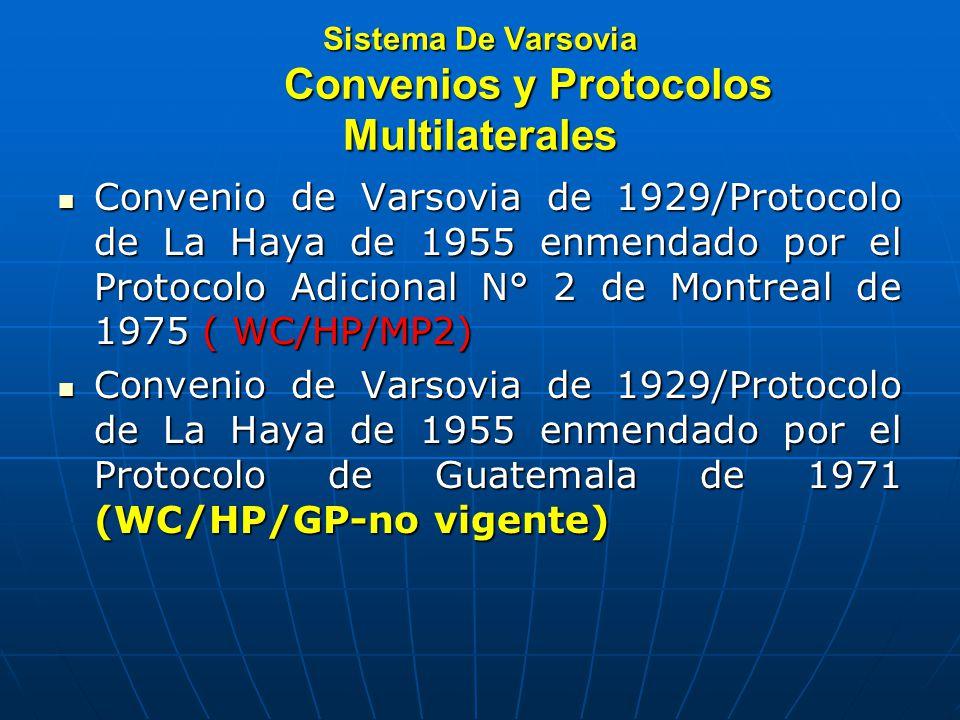 Sistema De Varsovia Convenios y Protocolos Multilaterales Convenio de Varsovia de 1929/Protocolo de La Haya de 1955 enmendado por el Protocolo Adicional N° 2 de Montreal de 1975 ( WC/HP/MP2) Convenio de Varsovia de 1929/Protocolo de La Haya de 1955 enmendado por el Protocolo Adicional N° 2 de Montreal de 1975 ( WC/HP/MP2) Convenio de Varsovia de 1929/Protocolo de La Haya de 1955 enmendado por el Protocolo de Guatemala de 1971 (WC/HP/GP-no vigente) Convenio de Varsovia de 1929/Protocolo de La Haya de 1955 enmendado por el Protocolo de Guatemala de 1971 (WC/HP/GP-no vigente)
