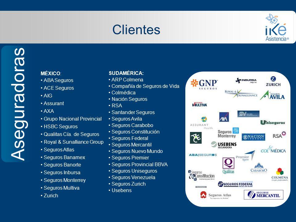 Aseguradoras Clientes MÉXICO: ABA Seguros ACE Seguros AIG Assurant AXA Grupo Nacional Provincial HSBC Seguros Qualitas Cía.