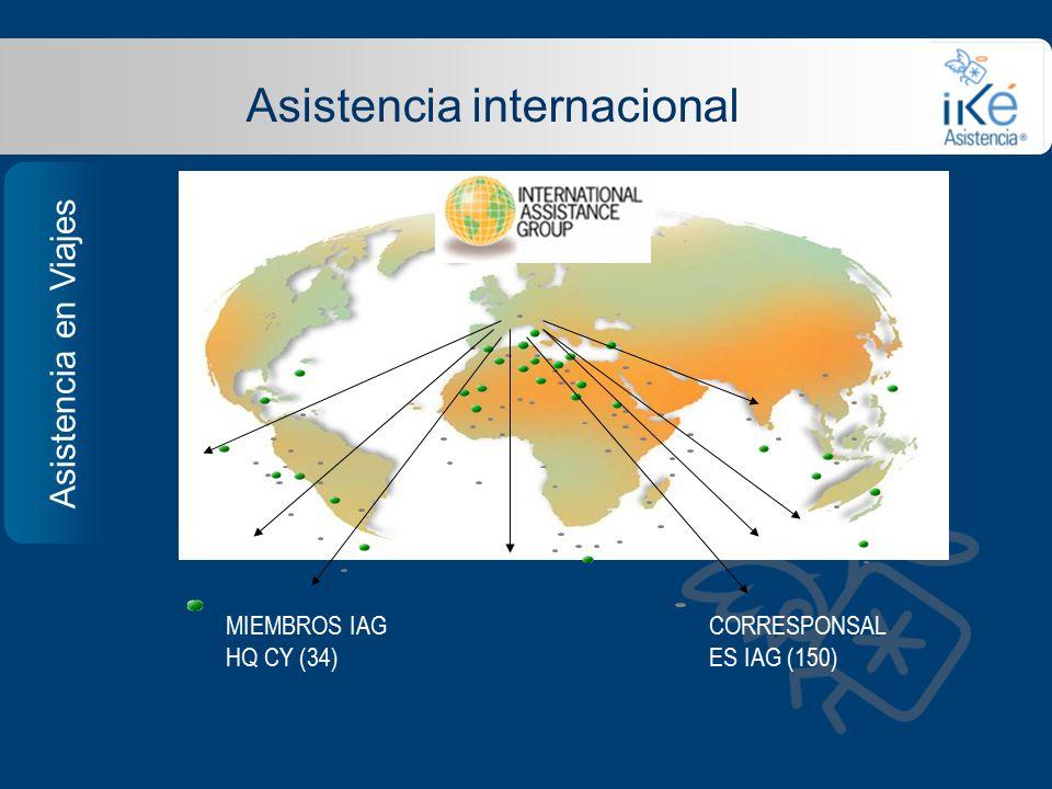 Asistencia internacional MIEMBROS IAG HQ CY (34) CORRESPONSAL ES IAG (150) Asistencia en Viajes