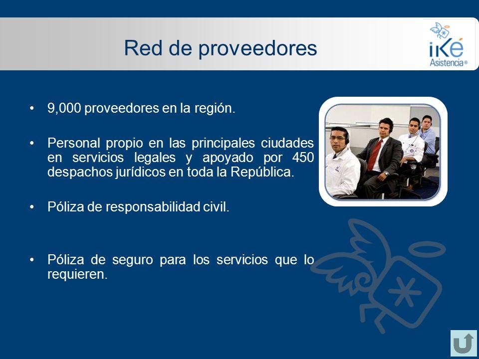 Red de proveedores 9,000 proveedores en la región.