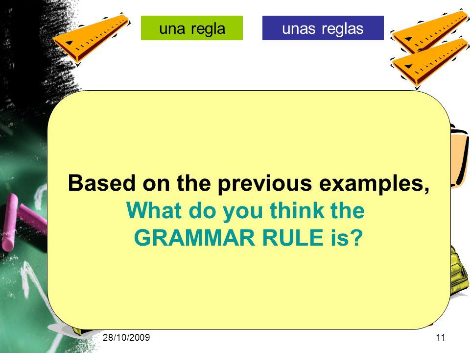 28/10/200911 una reglaunas reglas una carpetaunas carpetas una mochilaunas mochilas Based on the previous examples, What do you think the GRAMMAR RULE is
