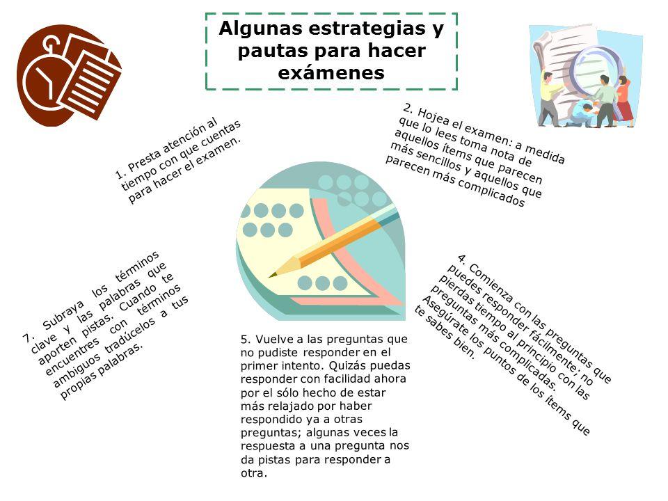 Algunas estrategias y pautas para hacer exámenes 7.