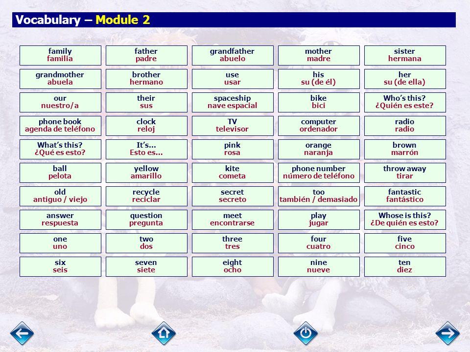 Vocabulary – Module 1 says decir Be quiet. ¡Callaos.