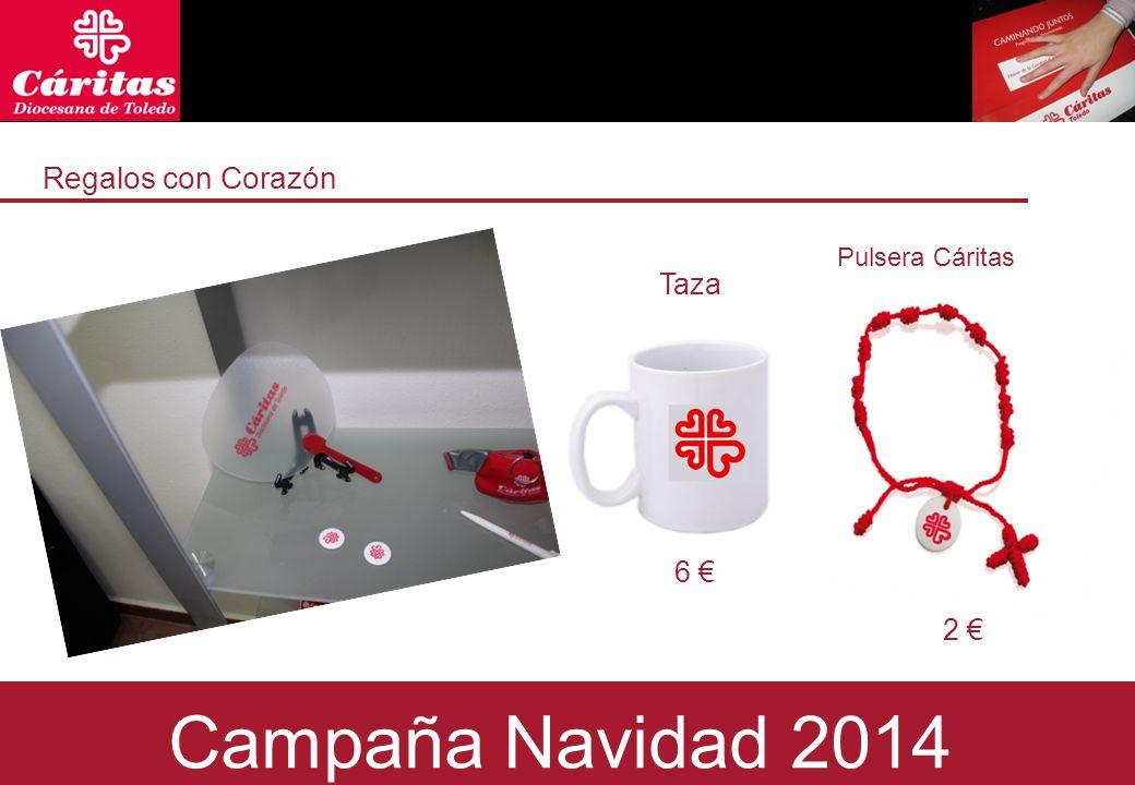 Regalos con Corazón Taza 6 € 2 € Campaña Navidad 2014 Pulsera Cáritas