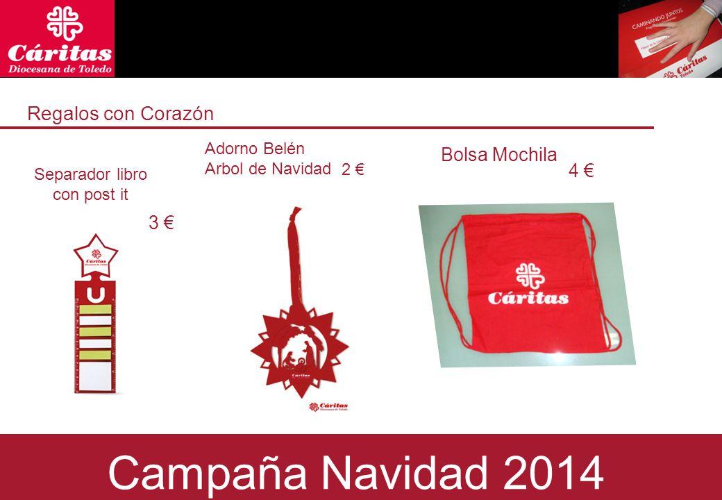 Regalos con Corazón Separador libro con post it 3 € 2 € Bolsa Mochila Campaña Navidad 2014 Adorno Belén Arbol de Navidad 4 €