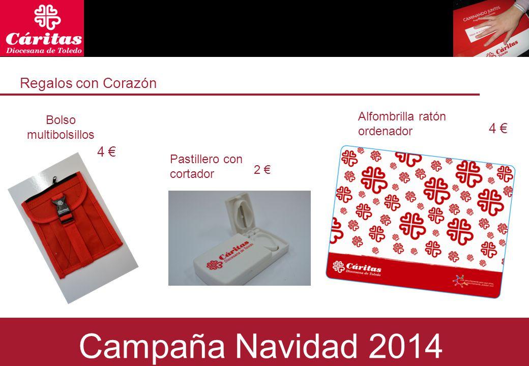 Regalos con Corazón Bolso multibolsillos 4 € 2 € Campaña Navidad 2014 Alfombrilla ratón ordenador 4 € Pastillero con cortador