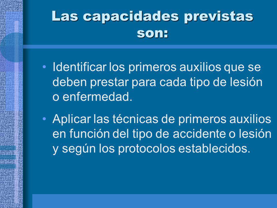 Las capacidades previstas son: Identificar los primeros auxilios que se deben prestar para cada tipo de lesión o enfermedad.