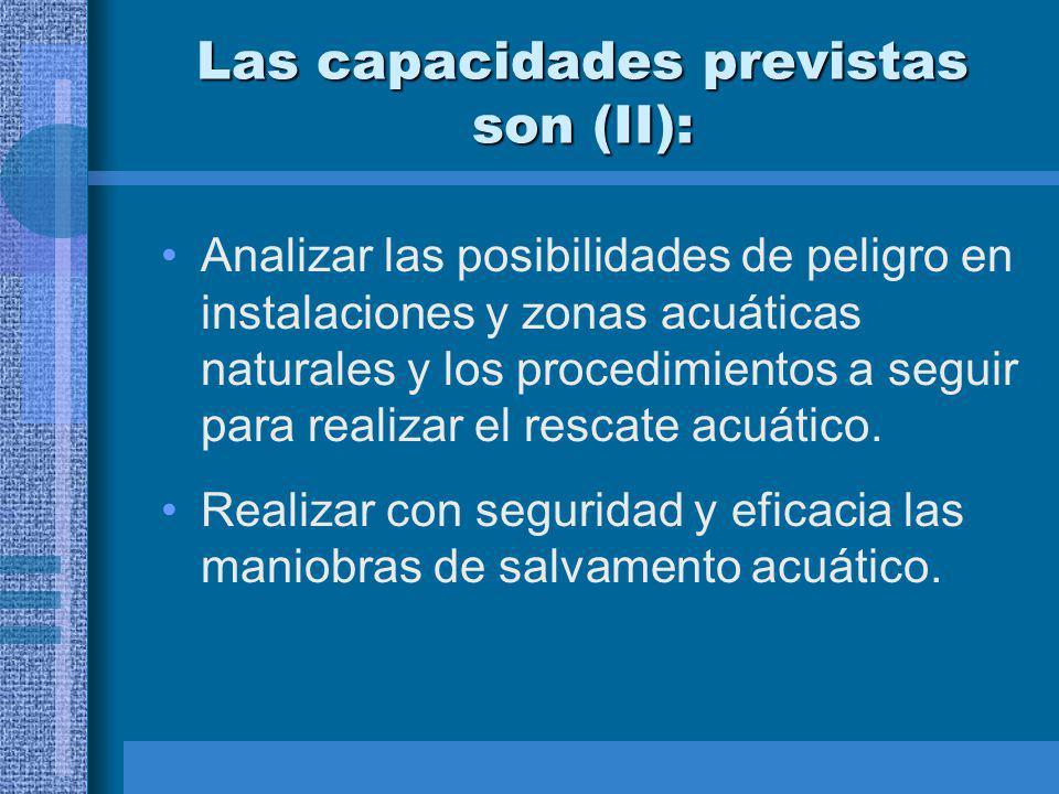 Las capacidades previstas son (II): Analizar las posibilidades de peligro en instalaciones y zonas acuáticas naturales y los procedimientos a seguir para realizar el rescate acuático.