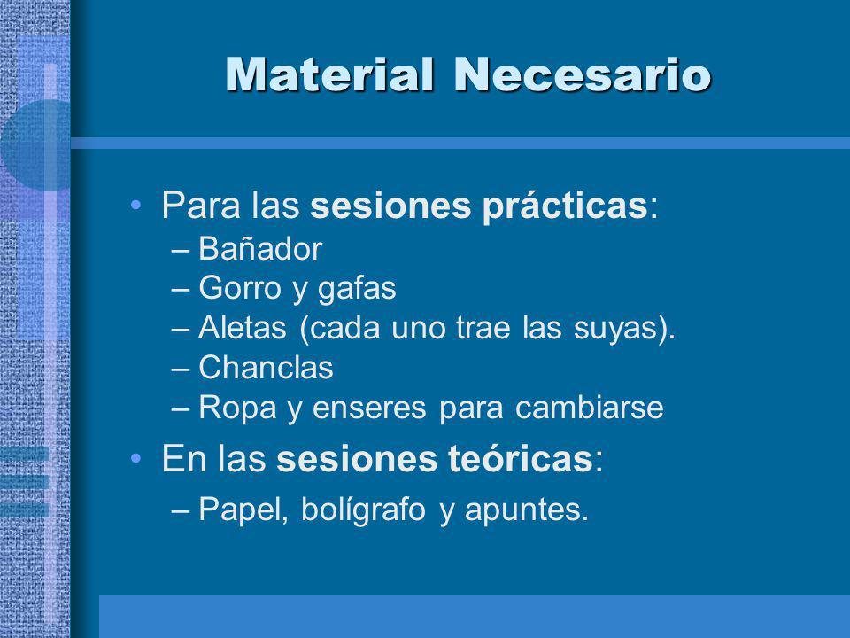 Material Necesario Para las sesiones prácticas: –Bañador –Gorro y gafas –Aletas (cada uno trae las suyas).