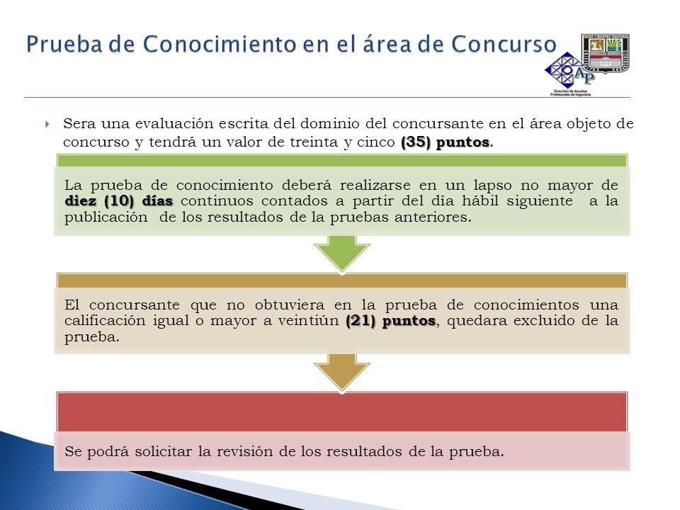 (35) puntos  Sera una evaluación escrita del dominio del concursante en el área objeto de concurso y tendrá un valor de treinta y cinco (35) puntos.