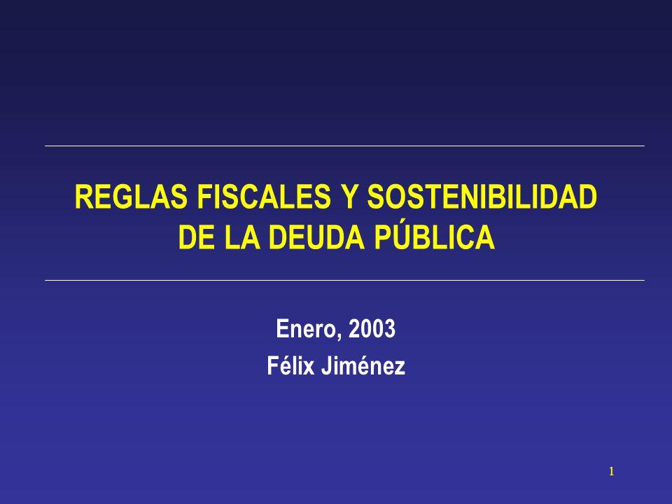 1 REGLAS FISCALES Y SOSTENIBILIDAD DE LA DEUDA PÚBLICA Enero, 2003 Félix Jiménez