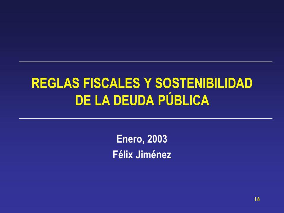 18 REGLAS FISCALES Y SOSTENIBILIDAD DE LA DEUDA PÚBLICA Enero, 2003 Félix Jiménez