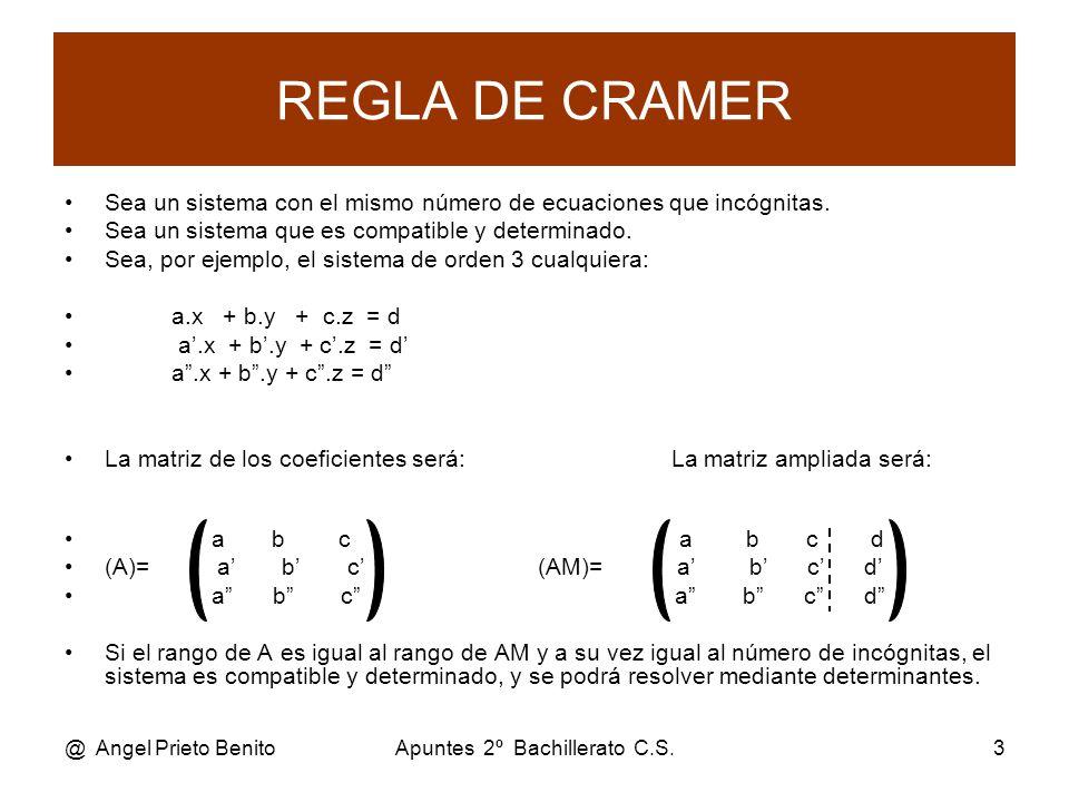 @ Angel Prieto BenitoApuntes 2º Bachillerato C.S.3 REGLA DE CRAMER Sea un sistema con el mismo número de ecuaciones que incógnitas.