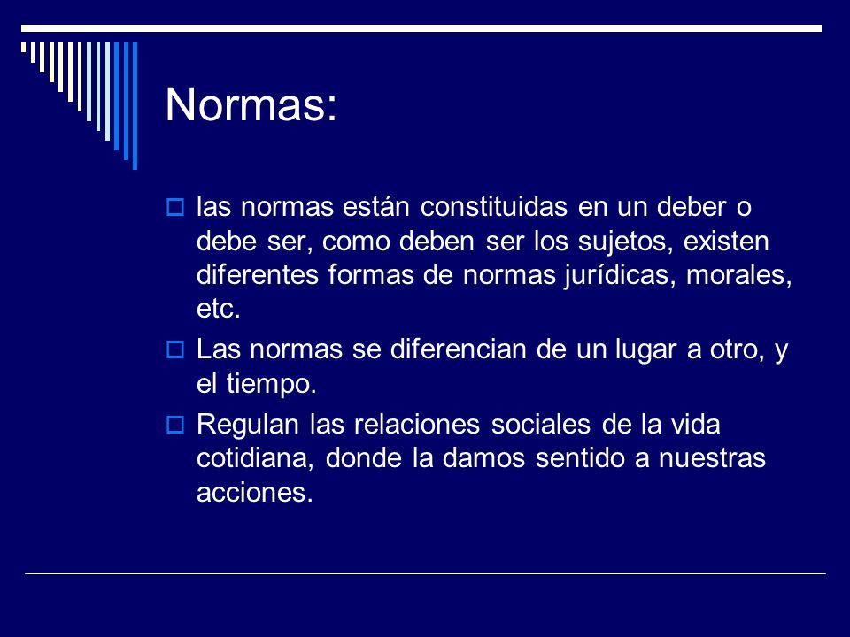 Normas:  las normas están constituidas en un deber o debe ser, como deben ser los sujetos, existen diferentes formas de normas jurídicas, morales, etc.
