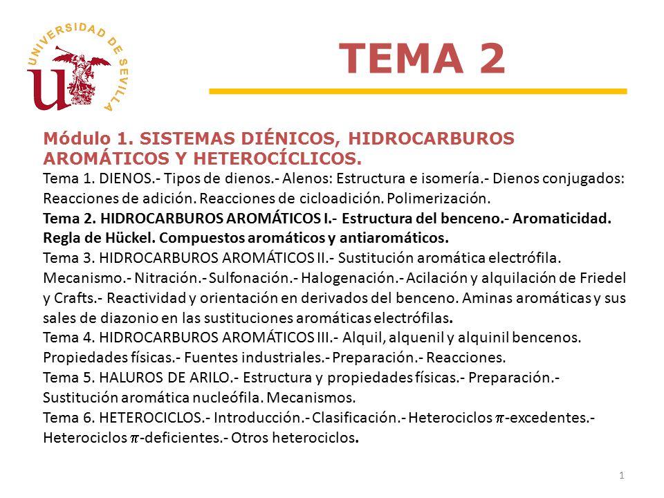 Módulo 1. SISTEMAS DIÉNICOS, HIDROCARBUROS AROMÁTICOS Y HETEROCÍCLICOS.
