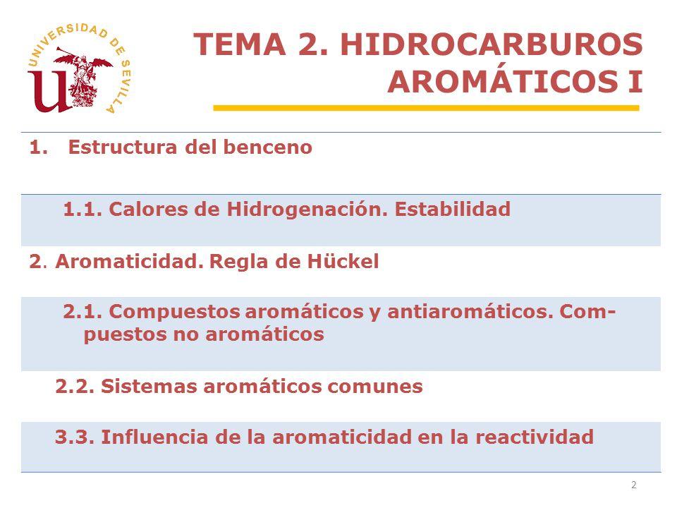 TEMA 2. HIDROCARBUROS AROMÁTICOS I 2 1.Estructura del benceno 1.1.