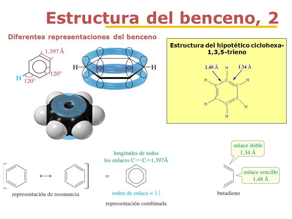 Estructura del benceno, 2 Estructura del hipotético ciclohexa- 1,3,5-trieno Diferentes representaciones del benceno