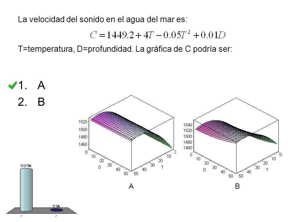 La velocidad del sonido en el agua del mar es: T=temperatura, D=profundidad.
