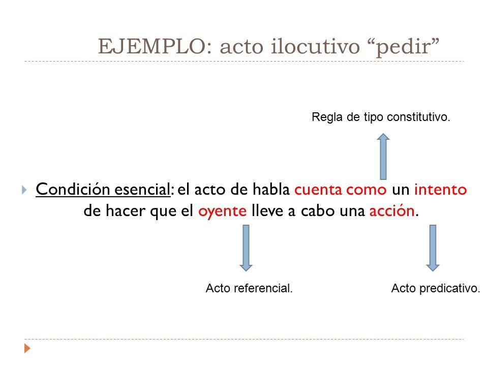 EJEMPLO: acto ilocutivo pedir  Condición esencial: el acto de habla cuenta como un intento de hacer que el oyente lleve a cabo una acción.