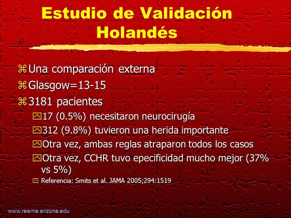 www.reeme.arizona.edu Estudio de Validación Holandés zUna comparación externa zGlasgow=13-15 z3181 pacientes y17 (0.5%) necesitaron neurocirugía y312 (9.8%) tuvieron una herida importante yOtra vez, ambas reglas atraparon todos los casos yOtra vez, CCHR tuvo epecificidad mucho mejor (37% vs 5%) yReferencia: Smits et al.