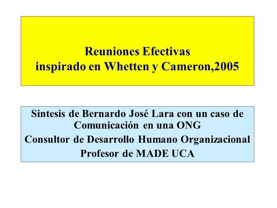 Reuniones Efectivas inspirado en Whetten y Cameron,2005 Sintesis de Bernardo José Lara con un caso de Comunicación en una ONG Consultor de Desarrollo Humano Organizacional Profesor de MADE UCA