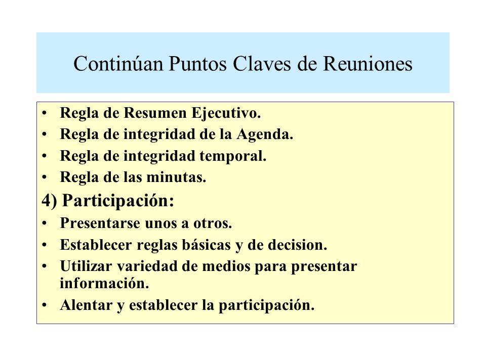 Continúan Puntos Claves de Reuniones Regla de Resumen Ejecutivo.