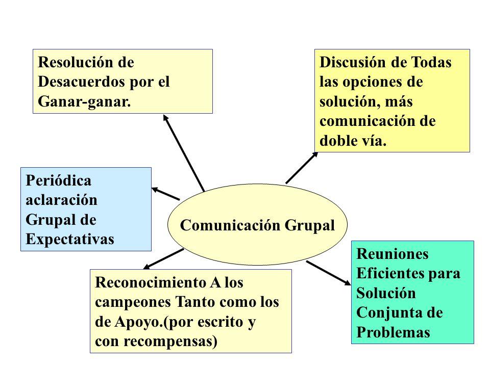 Comunicación Grupal Discusión de Todas las opciones de solución, más comunicación de doble vía.