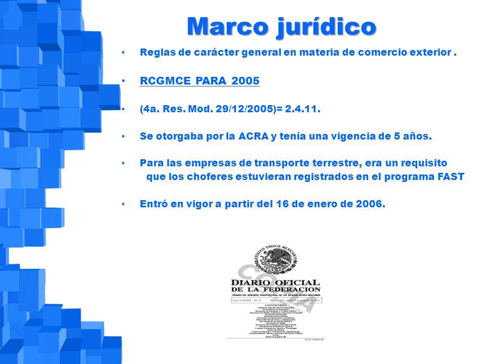 Marco jurídico Reglas de carácter general en materia de comercio exterior.