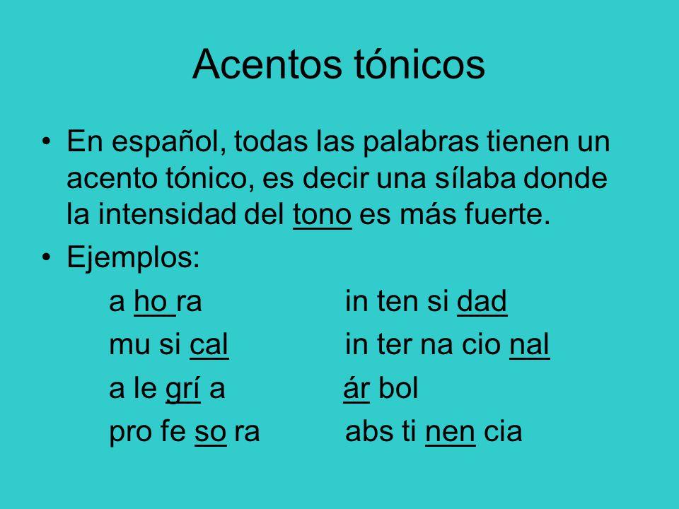 Acentos tónicos En español, todas las palabras tienen un acento tónico, es decir una sílaba donde la intensidad del tono es más fuerte.