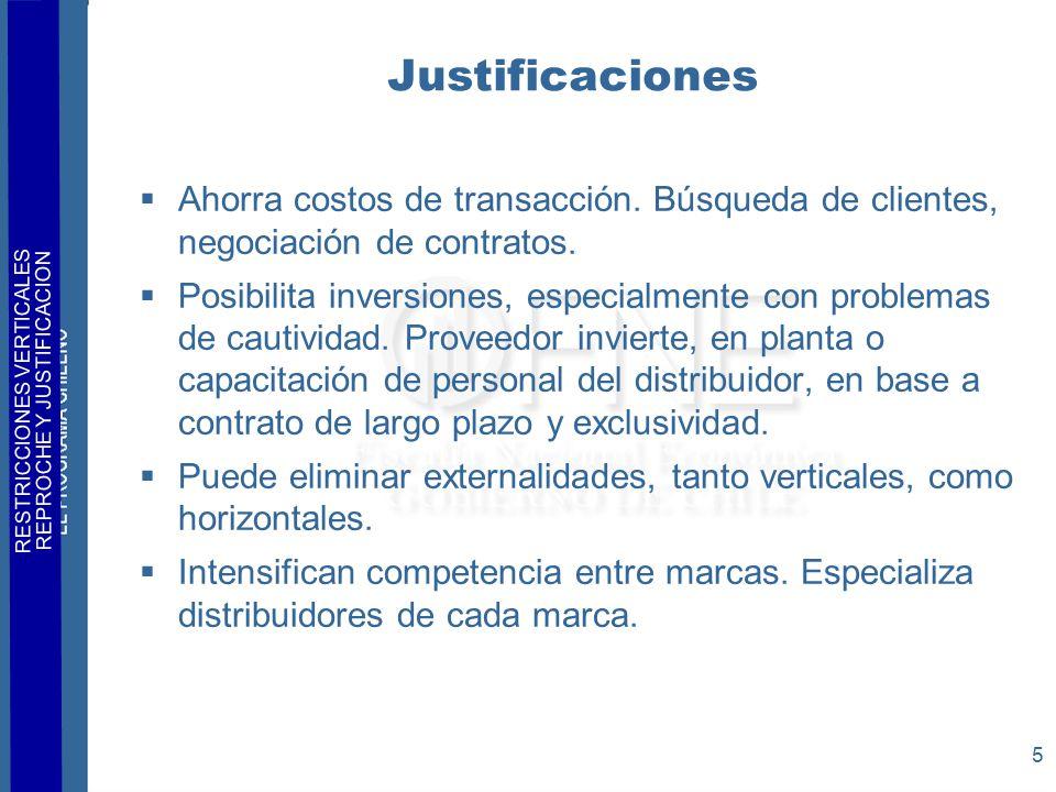 RESTRICCIONES VERTICALES REPROCHE Y JUSTIFICACION 5 Justificaciones  Ahorra costos de transacción.