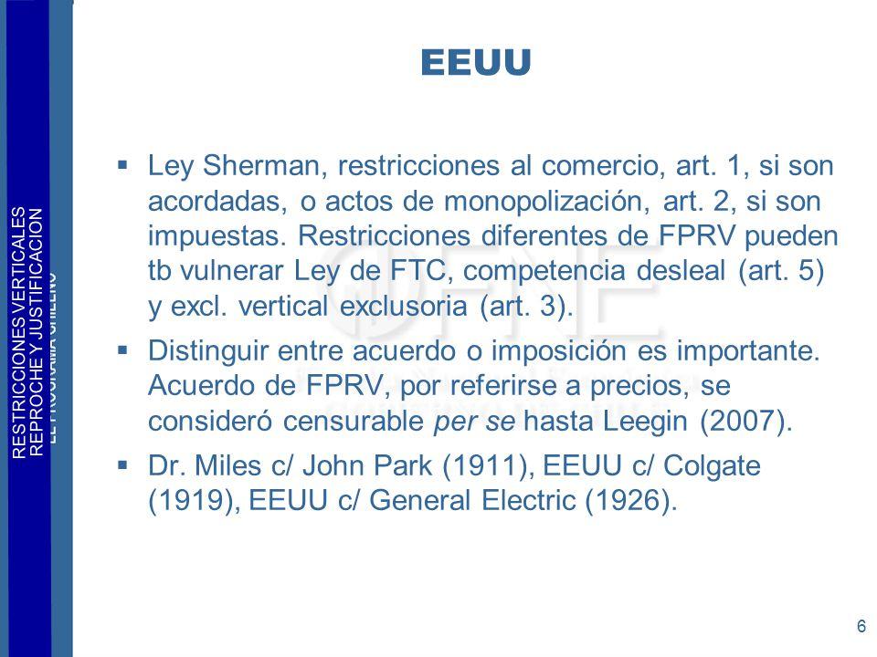 RESTRICCIONES VERTICALES REPROCHE Y JUSTIFICACION 6 EEUU  Ley Sherman, restricciones al comercio, art.