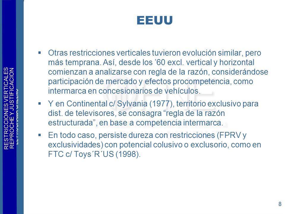 RESTRICCIONES VERTICALES REPROCHE Y JUSTIFICACION 8 EEUU  Otras restricciones verticales tuvieron evolución similar, pero más temprana.