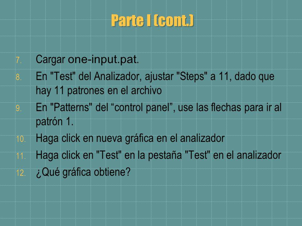 Parte I (cont.) 7. Cargar one-input.pat. 8.