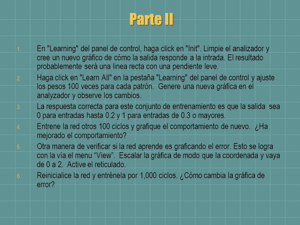 Parte II 1. En Learning del panel de control, haga click en Init .