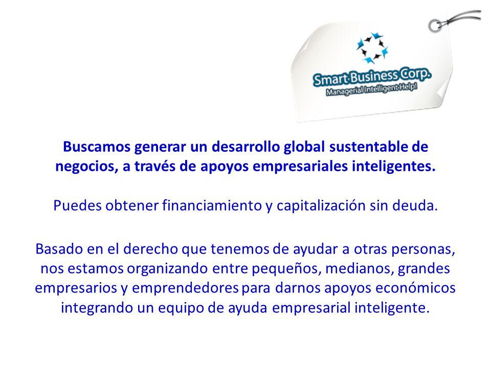 Buscamos generar un desarrollo global sustentable de negocios, a través de apoyos empresariales inteligentes.