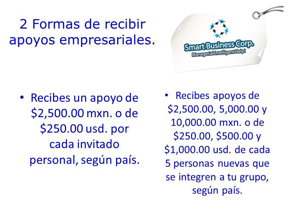 2 Formas de recibir apoyos empresariales. Recibes un apoyo de $2,500.00 mxn.