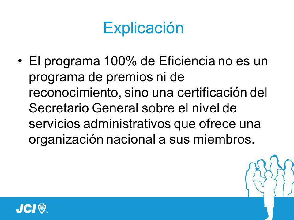 Explicación El programa 100% de Eficiencia no es un programa de premios ni de reconocimiento, sino una certificación del Secretario General sobre el nivel de servicios administrativos que ofrece una organización nacional a sus miembros.