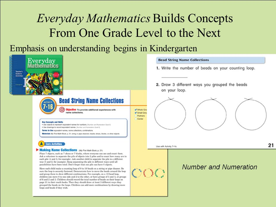 WCCUSD Translation by ELS jg/lo Everyday Mathematics Builds Concepts From One Grade Level to the Next Emphasis on understanding begins in Kindergarten Number and Numeration