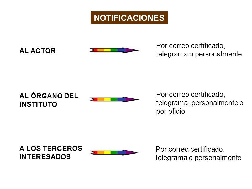 AL ACTOR AL ÓRGANO DEL INSTITUTO A LOS TERCEROS INTERESADOS NOTIFICACIONES Por correo certificado, telegrama o personalmente Por correo certificado, telegrama, personalmente o por oficio Por correo certificado, telegrama o personalmente