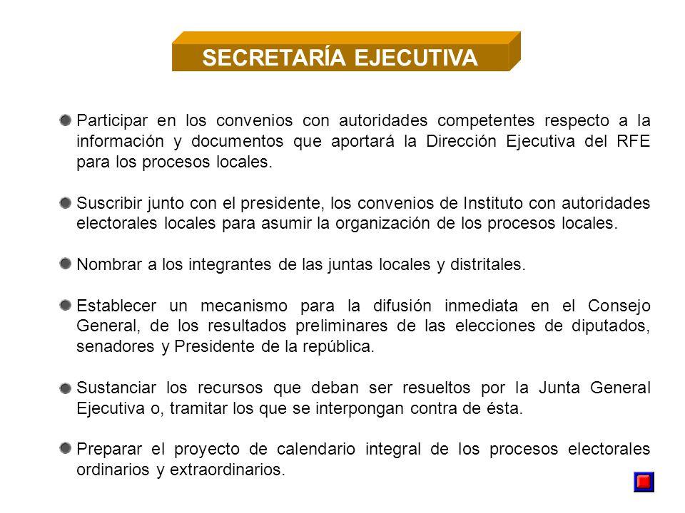 Participar en los convenios con autoridades competentes respecto a la información y documentos que aportará la Dirección Ejecutiva del RFE para los procesos locales.