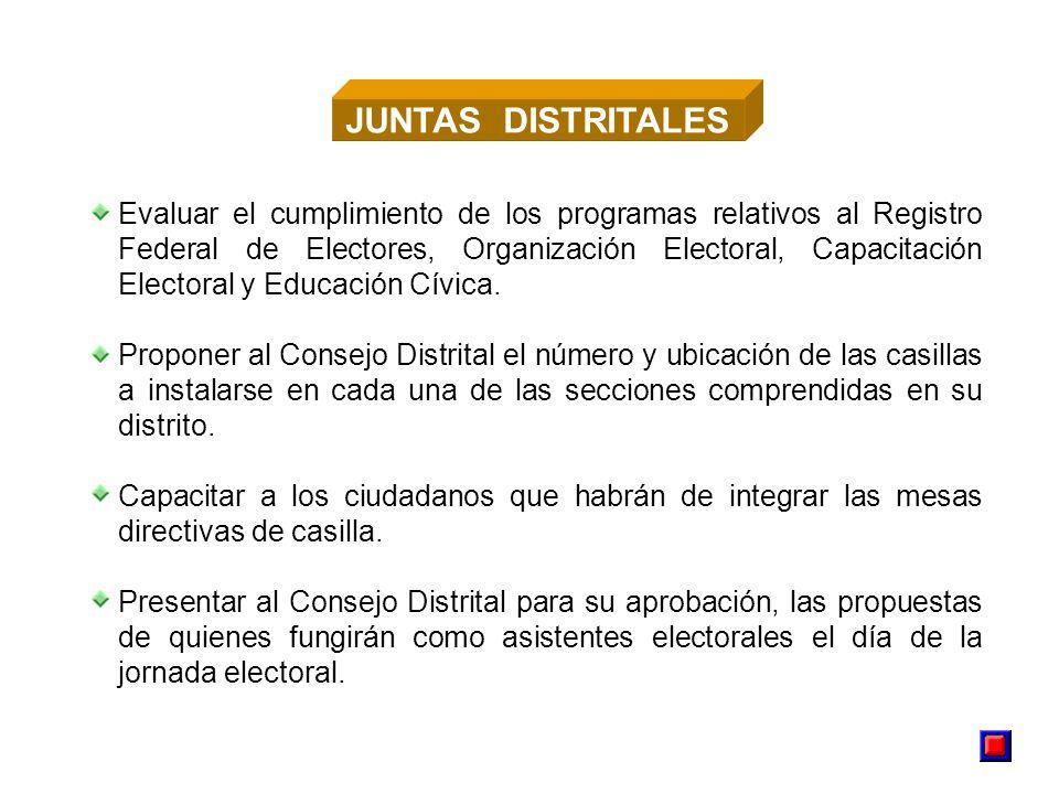 Evaluar el cumplimiento de los programas relativos al Registro Federal de Electores, Organización Electoral, Capacitación Electoral y Educación Cívica.
