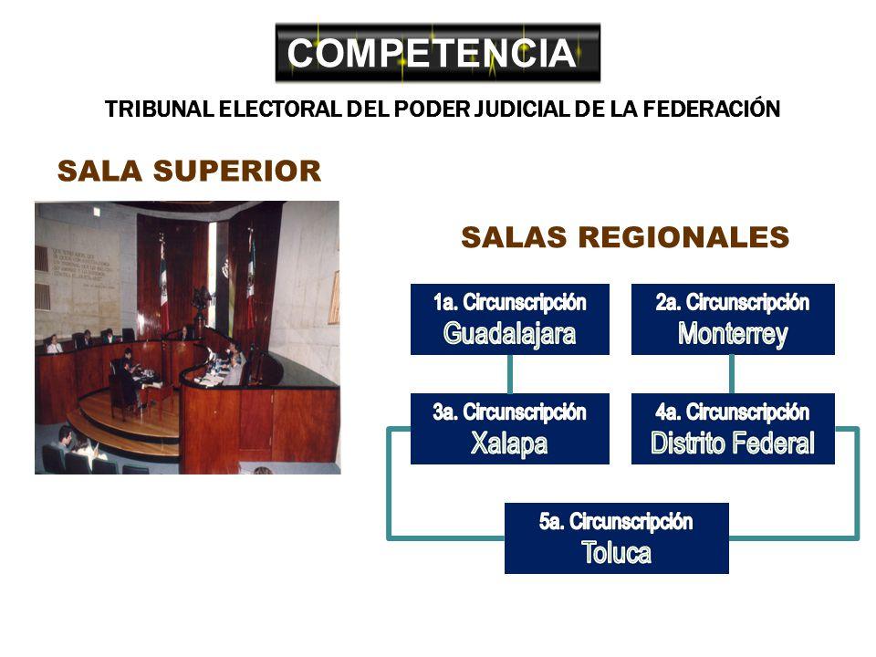 COMPETENCIA TRIBUNAL ELECTORAL DEL PODER JUDICIAL DE LA FEDERACIÓN SALA SUPERIOR SALAS REGIONALES