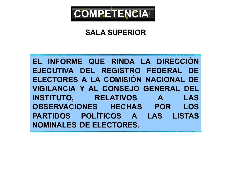 COMPETENCIA SALA SUPERIOR EL INFORME QUE RINDA LA DIRECCIÓN EJECUTIVA DEL REGISTRO FEDERAL DE ELECTORES A LA COMISIÓN NACIONAL DE VIGILANCIA Y AL CONSEJO GENERAL DEL INSTITUTO, RELATIVOS A LAS OBSERVACIONES HECHAS POR LOS PARTIDOS POLÍTICOS A LAS LISTAS NOMINALES DE ELECTORES.