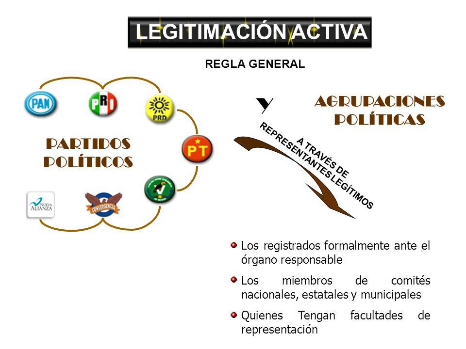 LEGITIMACIÓN ACTIVA A TRAVÉS DE REPRESENTANTES LEGÍTIMOS Los registrados formalmente ante el órgano responsable Los miembros de comités nacionales, estatales y municipales Quienes Tengan facultades de representación PARTIDOS POLÍTICOS AGRUPACIONES POLÍTICAS Y REGLA GENERAL