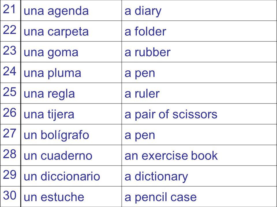 SpanishEnglish 11 unoone 12 dostwo 13 tresthree 14 cuatrofour 15 cincofive 16 seissix 17 sieteseven 18 ochoeight 19 nuevenine 20 diezten