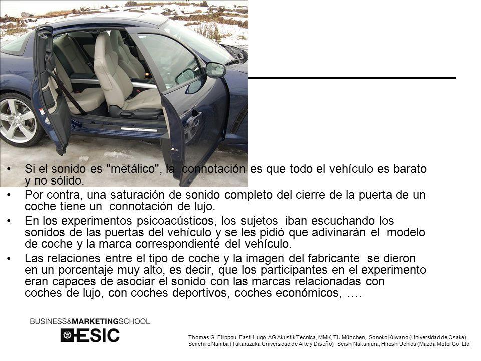 Si el sonido es metálico , la connotación es que todo el vehículo es barato y no sólido.