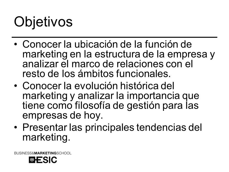 Objetivos Conocer la ubicación de la función de marketing en la estructura de la empresa y analizar el marco de relaciones con el resto de los ámbitos funcionales.