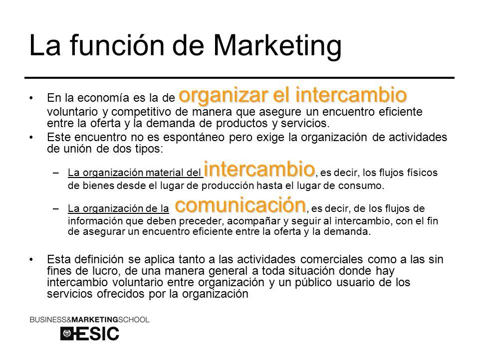 La función de Marketing organizar el intercambioEn la economía es la de organizar el intercambio voluntario y competitivo de manera que asegure un encuentro eficiente entre la oferta y la demanda de productos y servicios.