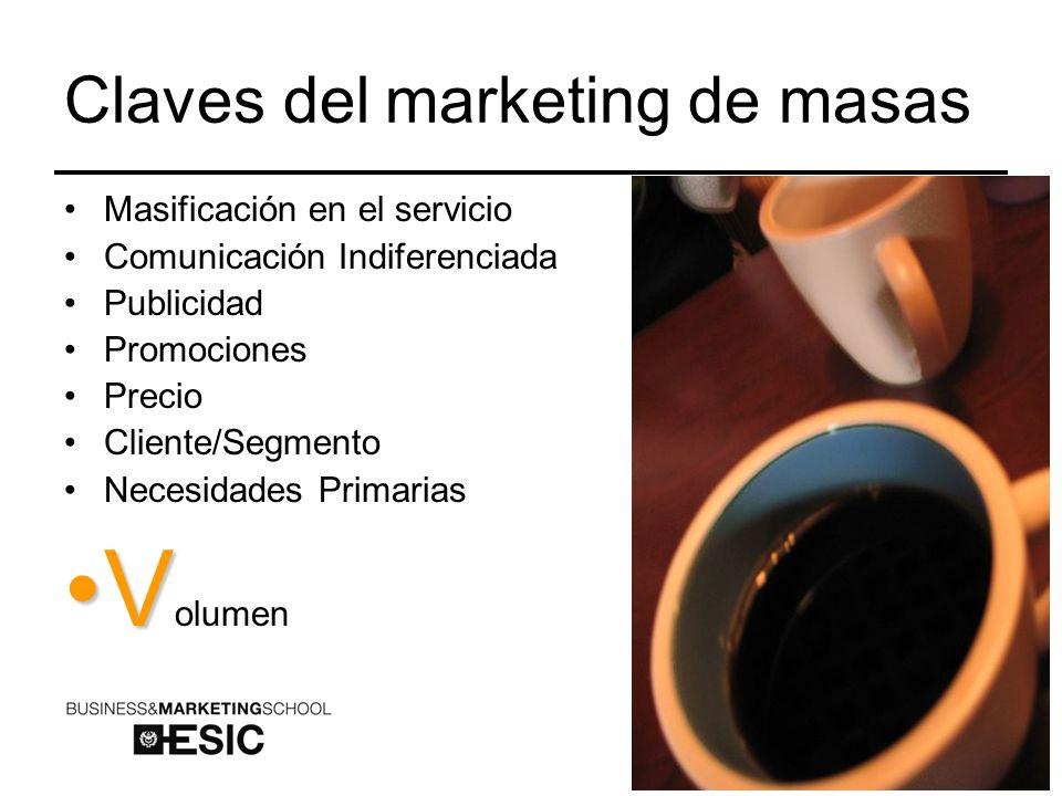 Claves del marketing de masas Masificación en el servicio Comunicación Indiferenciada Publicidad Promociones Precio Cliente/Segmento Necesidades Primarias VV olumen